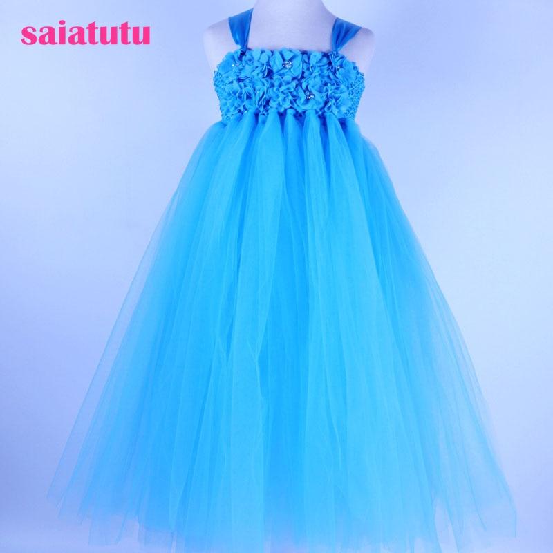 sky blue tutu Girls Dress Mesh Evening Ball Gowns Formal Baby Frocks birthday cloth crystal Children Wedding Kids Party Dresses blue sky чаша северный олень