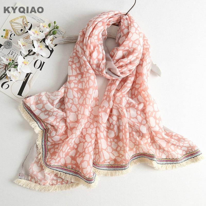 KYQIAO PINK scarf 2018 women autumn spring South Korea fashion sweet long pink print scarves Lolita muffler wraps