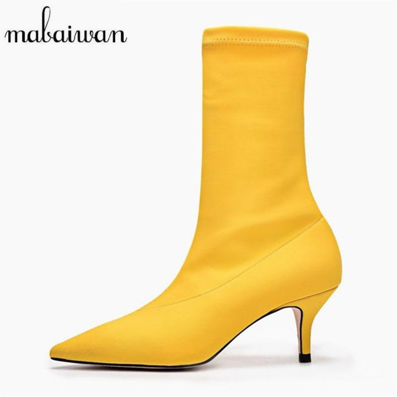 Mabaiwan 2018 New Fashion Women Sock Boots Pointed Toe High Heels Slip On Elastic Ankle Boots Women Pumps Stiletto Botas Mujer fashion kardashian ankle elastic sock boots chunky high heels stretch women autumn sexy booties pointed toe women pumps botas
