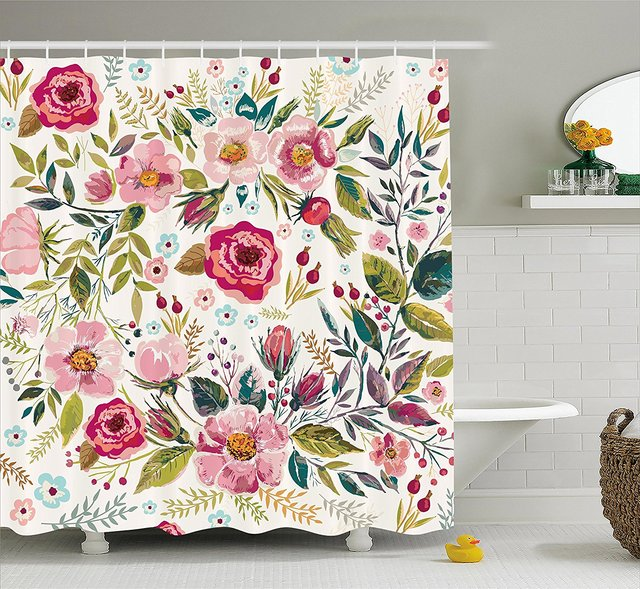 Floral Shower Curtain By Shabby Chic Flowers Roses Pedals Dots Leaves Buds Spring Season Theme Image Artwork