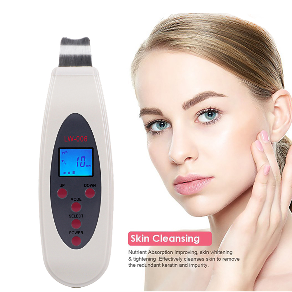 Ultrasonic Skin Scrubber Cleanser Face Cleaning Acne Removal Facial Spa Massager Ultrasound Peeling Clean Tone Lift