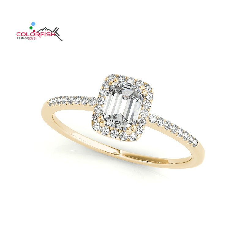 COLORFISH Fashion 1 ct Square Halo Engagement Ring For Women Rose Yellow Gold Color 925 Sterling Silver Thin Wedding Band Ring
