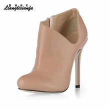 LLXF Stilettos Hollow out party shoes woman Ankle Martin Boots 12cm Thin Heels botas mujer wedding pumps Plus size:35-42 43 недорого