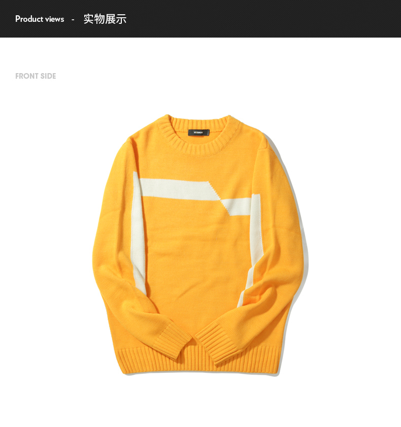 25bb8d7a8f8 VIISHOW 2017 New Sweaters Men Brand Clothing Fashion Mens Pullover Quality  Yellow White Striped Knitted Sweater Male ZC2314173