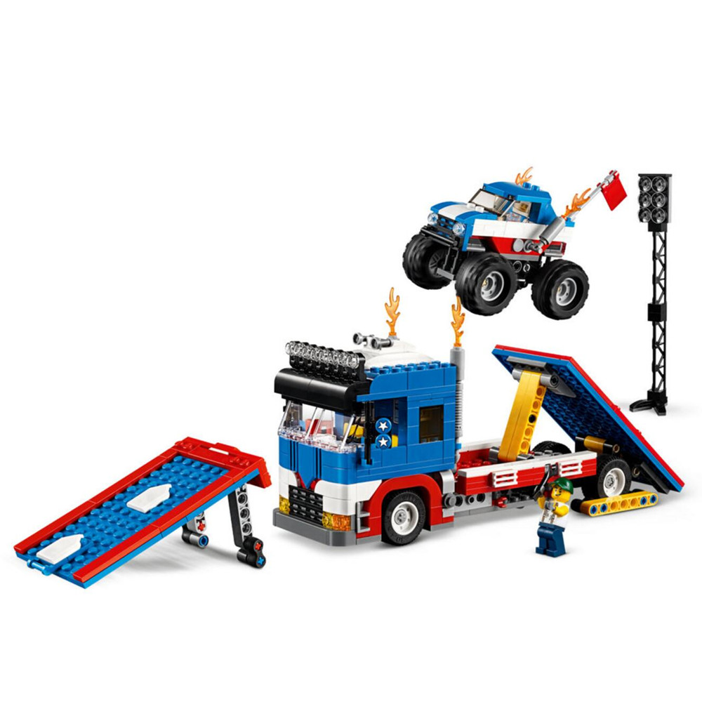 Creator 3in1 Mobile Stunt Show Building Blocks Kit Bricks Set Classic Model City Toys For Children Gift Compatible Legoe lepin creator 3in1 modular modern home building blocks bricks kits kids classic city model toys for children compatible legoe