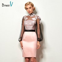 Dressv light pink short cocktail dress high neck long sleeves appliques button knee length cocktail dresses formal party dress