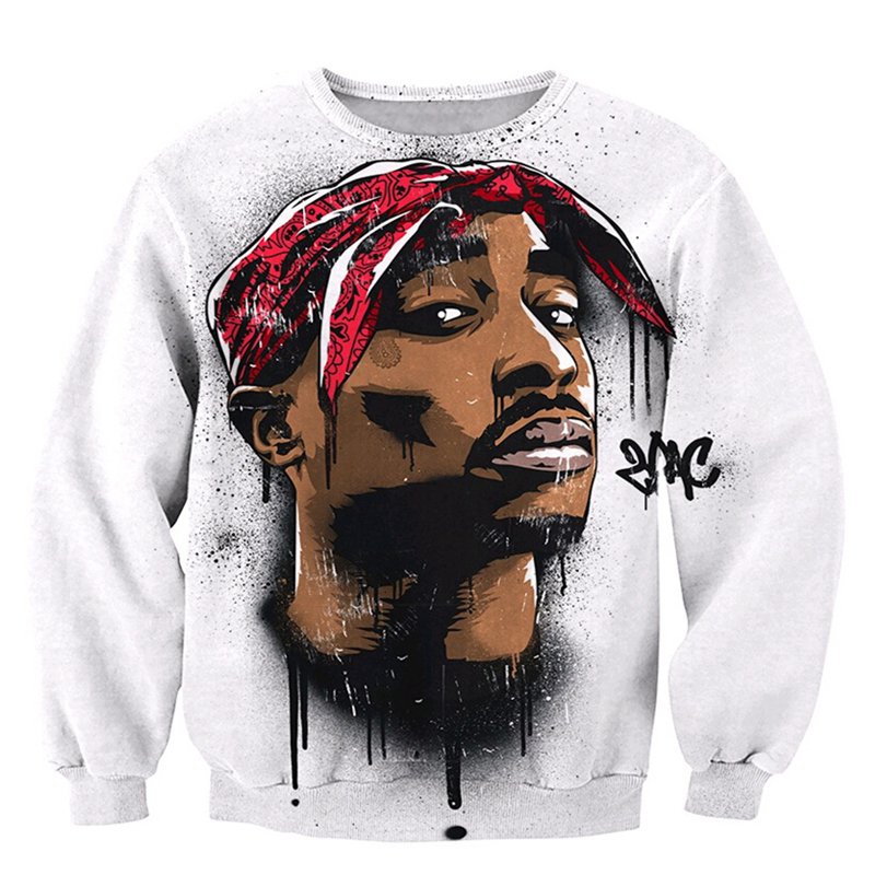 2018 NEW FASHION MEN AND WOMEN The Tupac White 3D Print Sweat shirts Pullovers Tracksuit Streetwear Loose Thin Hoody Tops