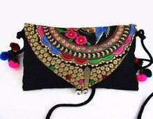 Vintage Hmong Tribal Ethnic Thai Indian Boho shoulder bag messenger embroidery, pom pom trim SYS-232