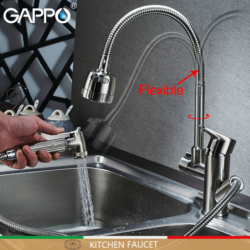 Gappo kitchen Faucets flexible kitchen water sink mixer tap rotatable kitchen pull out water mixer Faucets ulgksd kitchen faucets pull out ledsprayer vessel sink faucets 360 swivel cold and hot water kitchen mixer tap