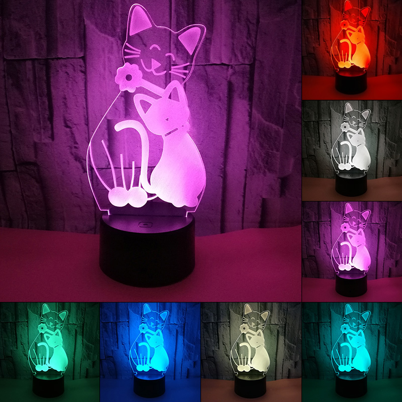 Lovely Cat 3D LED Night Light With 7 Colors Light For Home Decoration Lamp Amazing Visualization Optical Illusion 3D Table Lamp cat 3d night light animal changeable mood lamp led 7 colors usb 3d illusion table lamp for home decorative as kids toy gift