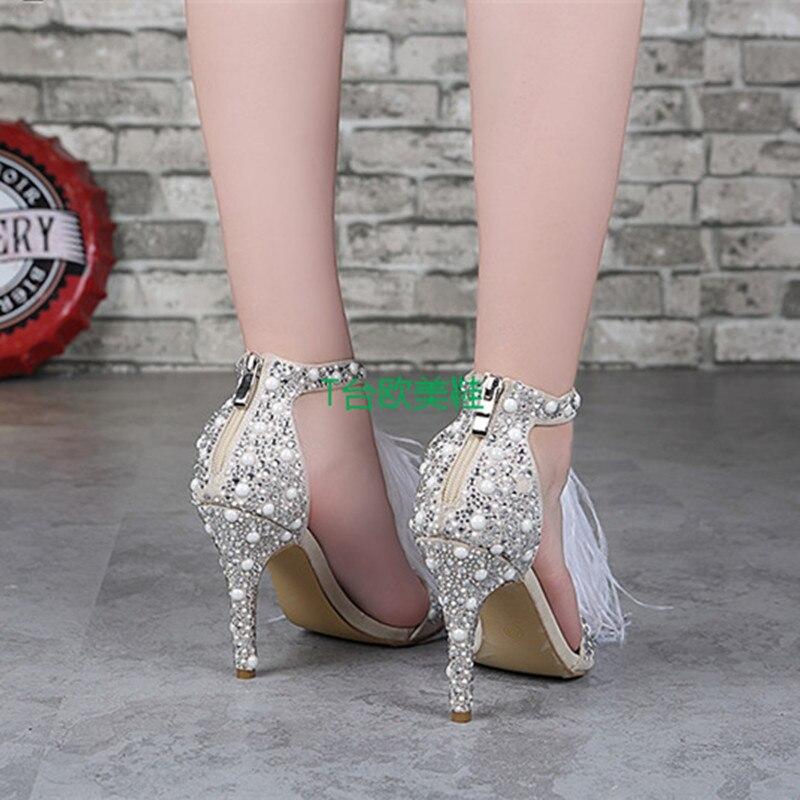 Chaude Dames Mode As D'été De Crème Sandales Sexy Haute Vente Cristal Pic Femmes Blanc Super Chaussures Courroie Plume Robe Talons pwZqWd4