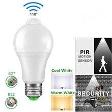 12W 18W PIR Motion Sensor Led Light Bulb E27/B22 LED Lampada Ampoule Bombilla 110V 220V Cold/Warm White Led Spotlight for Home