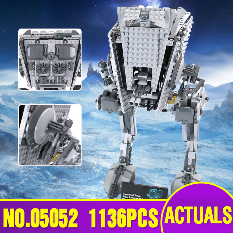 цены Lepin 05052 Star Plan Series The Empire AT Wars ST Robot Building Blocks Bricks Model Children Toys With legoing 10174 For Gift