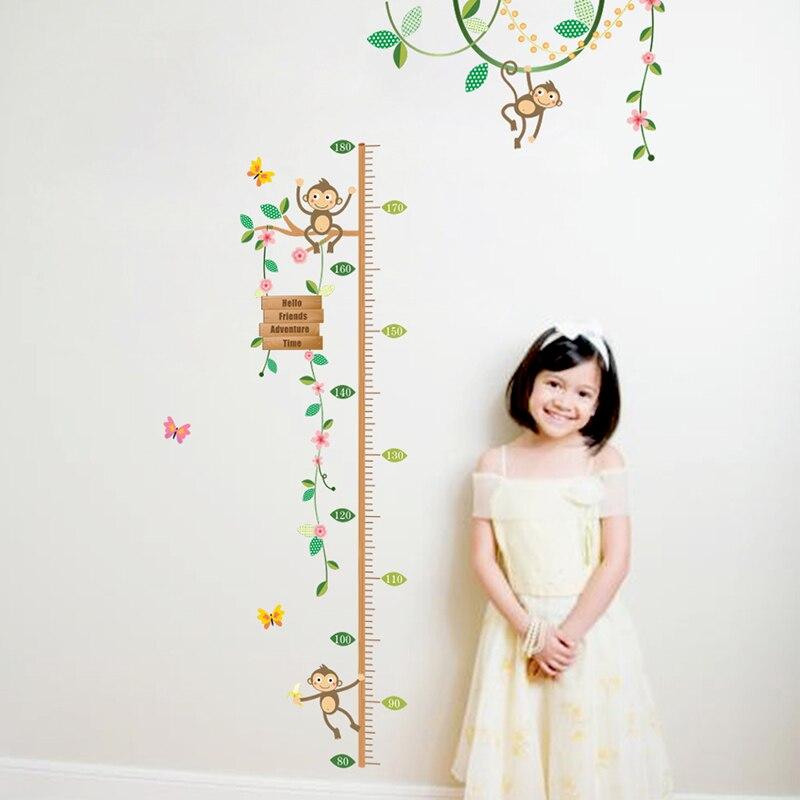 Сад цветочных растений обезьяны Дерево Высота Мера Наклейки на стену для детской комнаты забор Спальня Аксессуары росписи наклейки