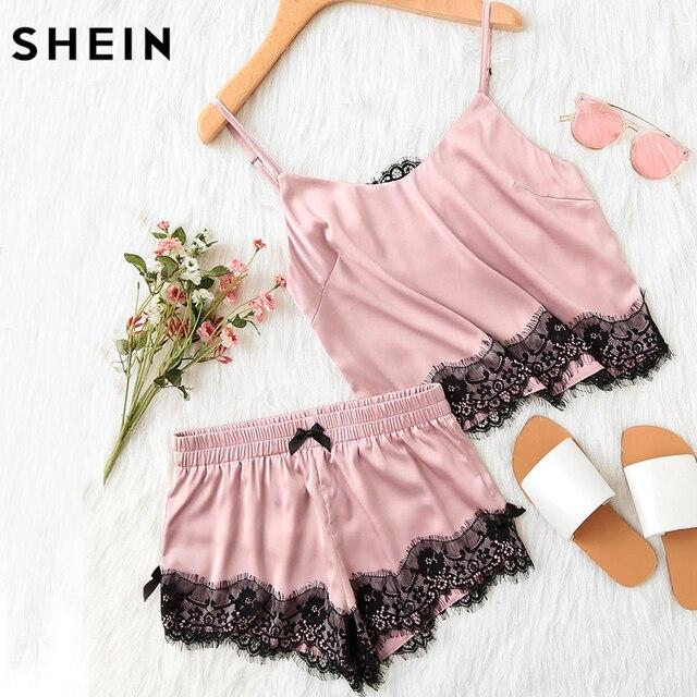 Шеин Розовый Спагетти ремень Кружева аппликация Satin Cami футболка и шорты пижамный комплект осень женские пижама пижамный комплект