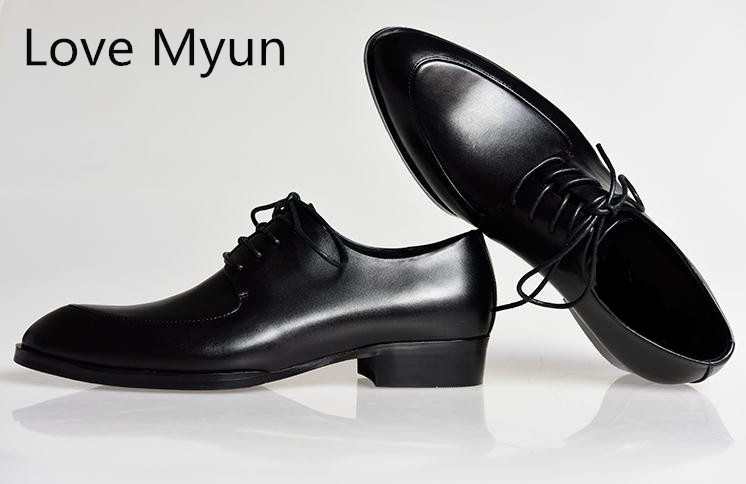 New mens genuine leather dress shoes white balck pointed toe lace up suit wedding  shoes fashion 50f7e4dfb8c2