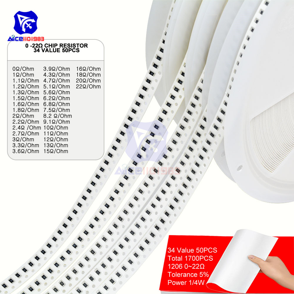 1700PCS/Lot 34 Value 50PCS 1206 Chip SMD Resistor 0R -10MΩ/Ohm 5% 1/4W 0.25W Chip Resistance Assorted Set Chip Fixed Resistor