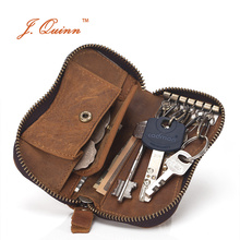 J.Quinn Zip around Car Key Wallet Men Genuine Leather Small Key Case Pouch Purse Bags Card Coin Pocket Womens Organizer Holder