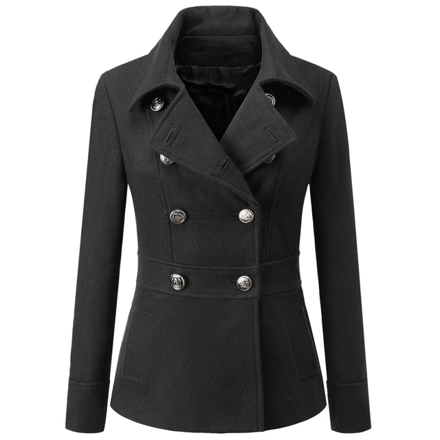 IMC Women's Toggle Double Breasted Trench Coat (Black, M)