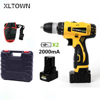 XLTOWN 25V Electric Drill with 2 battery 2000mA Large Capacity Lithium Battery Electric Screwdriver Household Electric Drill