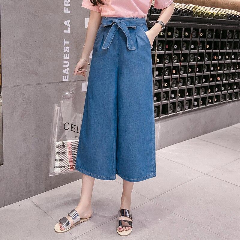 Jeans Womens Loose Fashion Bow Wide Leg Jeans Women S-5XL Plus Size Jeans Feminino Pockets Slim Denim Jeans Capri Dropshipping