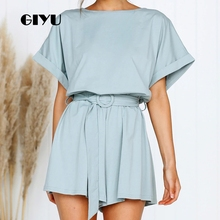 GIYU Summer Short Sleeve Playsuits Casual Loose Solid Bodysuits Women Overalls with Sashes High Waist Tie Up Romper 2019