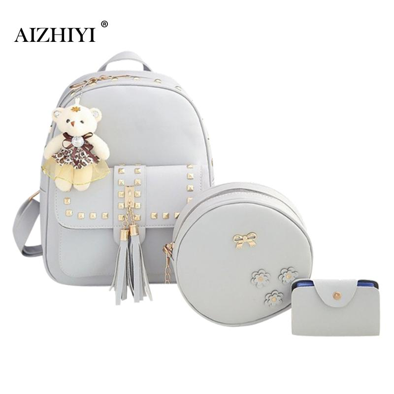 3Set Rivet Tassel Black Cackpack School Bags For Teenage Girls sac a dos Femme Mochilas Mujer PU Leather Backpack Top-Handle Bag yubird canvas tote zipper casual women big bag large bag fabric cloth ladies hand bag handbags for school bolso grande mujer