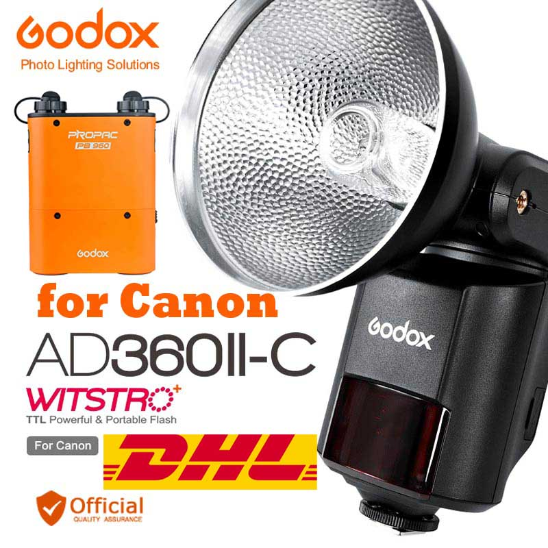 Free DHL Godox AD360II-C TTL 360W GN80 Powerful Speedlite Flash Light PB960 Lithium for Canon EOS Camera 6D 70D 5D Mark III 1D X free tax to russia new 42cm godox ad s3 beauty dish with grid for witstro speedlite flash ad180 ad360