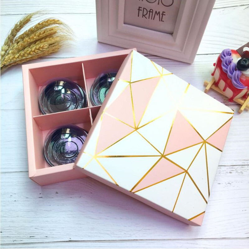 5 Pieces 4grids Pink Golden Line Diamond Design Gift Boxes For Candy Boxes, Biscuit Boxes, Moon Cake Boixes