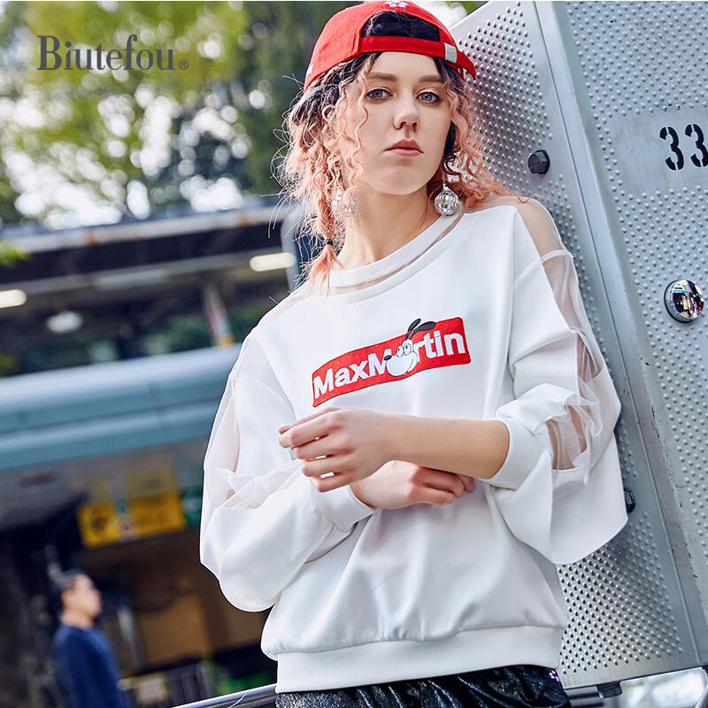 2018 Autumn embroidery sweatshirts women fashion hollow out patch designs loose sweatshirts