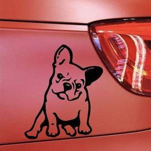 Image 4 - Buldog francuski pies winylowa tablica naścienna dekoracja okienna urocze zwierzę samochód naklejka czarny/srebrny # B1103