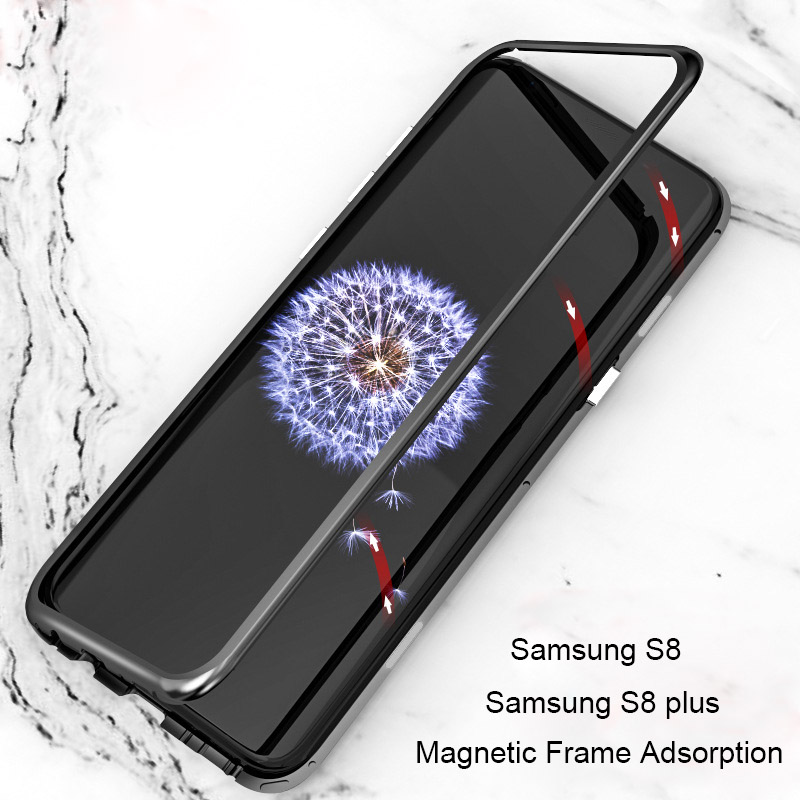 innovative design 92604 5189a Details about Magnetic Absorption Metal Tempered Glass Back Case For  Samsung S8 Plus Note8 S7
