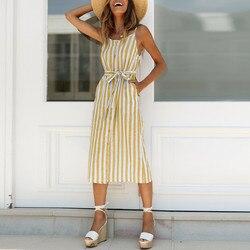 """Moda stałe pani ubrania damskie Boho Stripe Camisole sukienka bez rękawów damska koszulka z dekoltem w kształcie litery """"o"""" letnia sukienka imprezowa sukienka 1"""