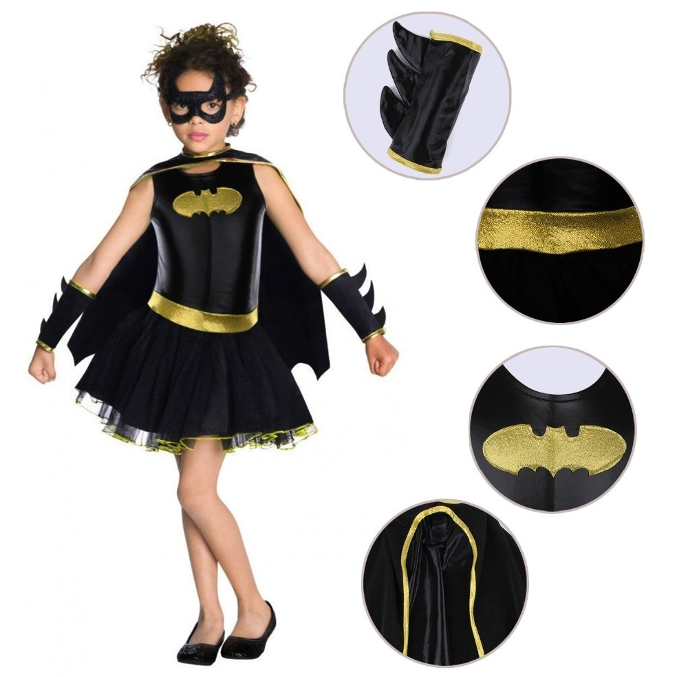 Child Girls Batman Batgirl Fancy Dress Tutu Superhero Costume Outfits Comic 4PCS 4