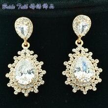 New 2014 Wedding Bridal Earring Drop Pierced Dangle Earrings Flower Earrings For Women Jewelry Clear Rhinestone Crystal 20674
