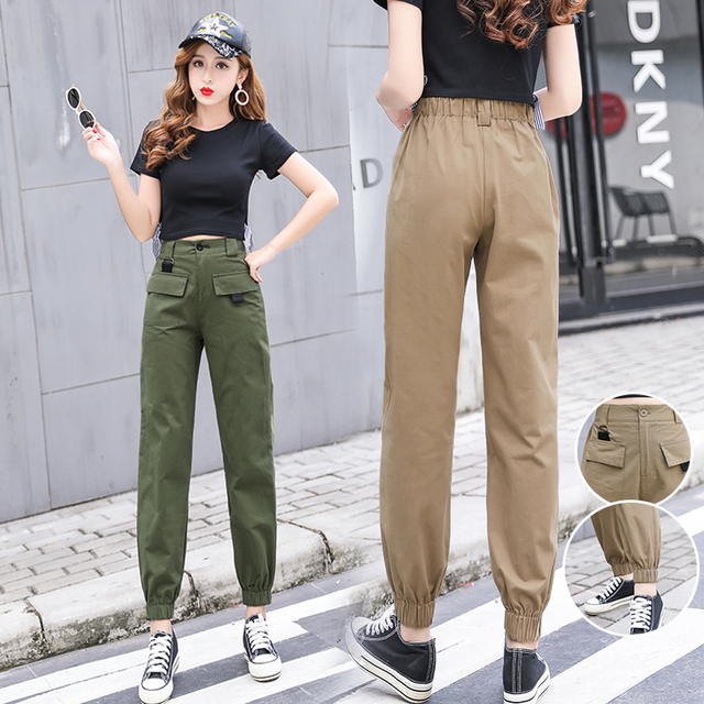 ade08ff3bc4 Women casual cargo pants 2018 autumn winter fashion bf style female solid  loose elastic waist vintage harem pants women trousers