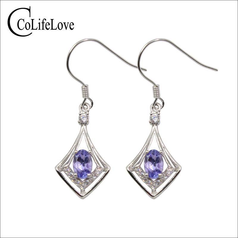 100% natural VS tanzanite drop earrings for wedding 4 mm * 6 mm oval cut tanzanite earrings solid 925 silver gemstone jewelry