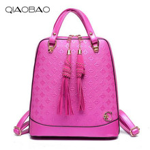 Qiaobao Повседневная винтажная новый стиль кожа Школьные сумки Высокое качество Женщины конфеты клатч 2017 известный дизайнер марки рюкзак