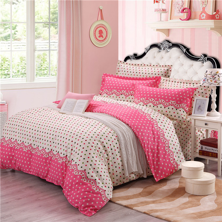Lovely dots modern bedding sheet 4pcs/set 100%cotton Queen size comfortable printing christmas beding sets,Fabric is very soft