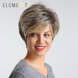 ELEMENT 6 inch Short Synthetic Wig Fashion Ombre Brown color High Density Party Daily Use Replacement Wigs for Women