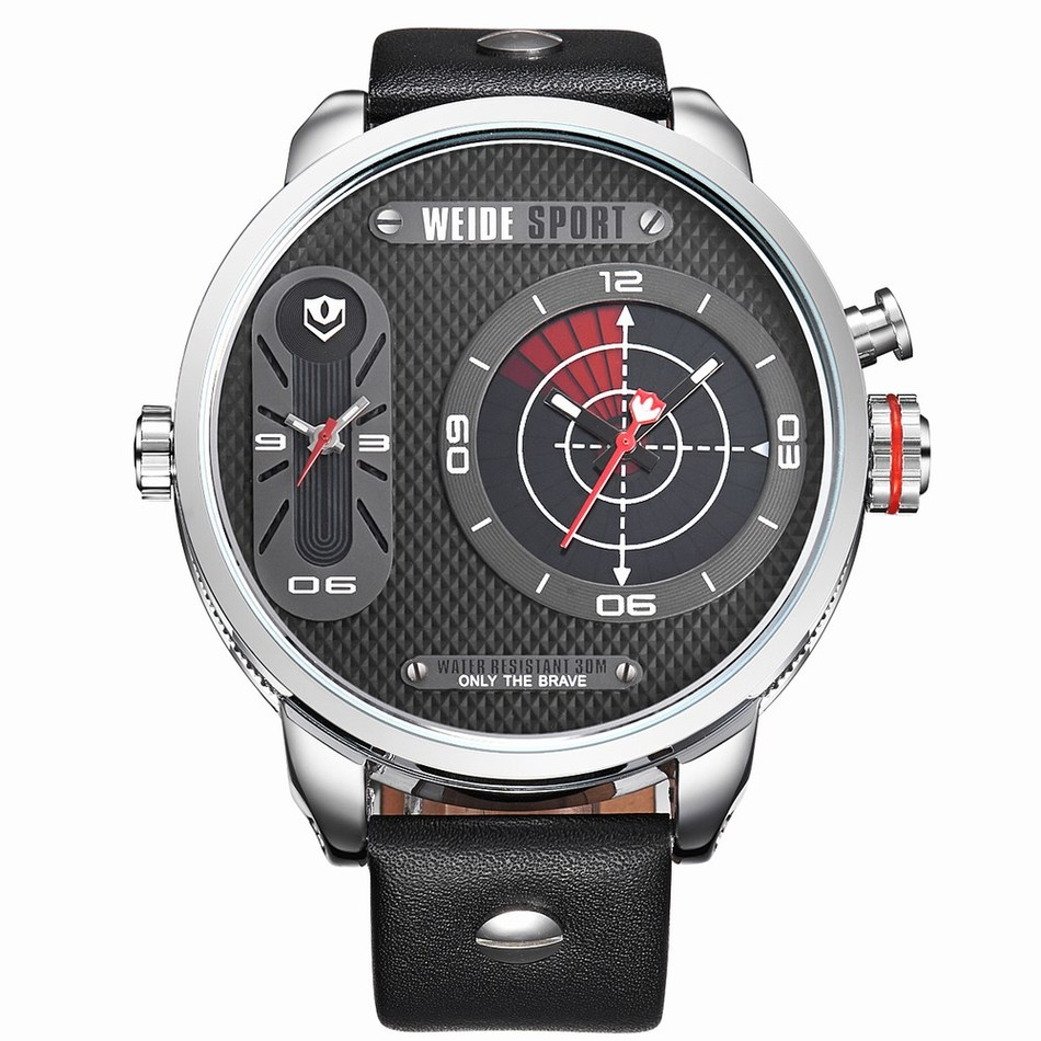 ФОТО WEIDE Sports Military Watch Multifunctional Quartz LCD Digital leather Movement Waterproofed Watch Men Wristwatches Luxury Brand