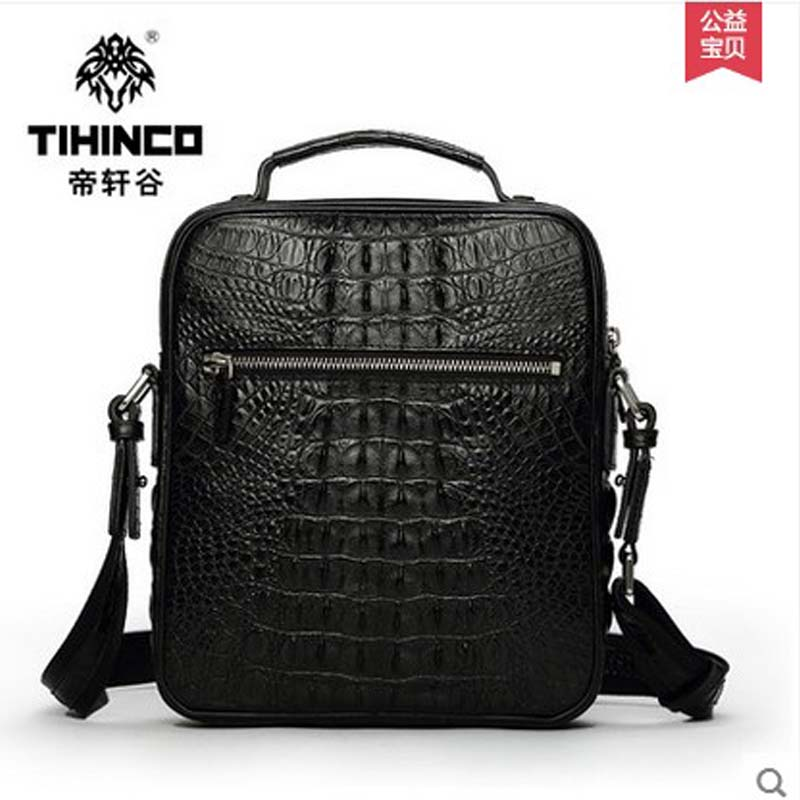 tihinco Single shoulder bag Men briefcase real crocodile man inclined bag Men fashion leather business men bags tihinco new authentic crocodile handbag single shoulder bag leather male fashion business and leisure bag document package