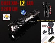 Alonefrie e007 cree xm l2 4000lm cree led de la antorcha de zoom de bici luz para 3 x AAA o 18650 batería luz de la bicicleta clip de soporte