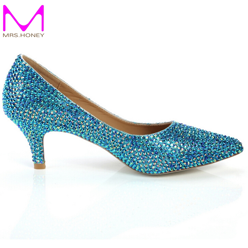 Pointed Toe Rhinestone Cinderella Pumps Blue Rhinestone Wedding Dress Shoes Prom Party Formal Dress Shoes Crystal Women Shoes