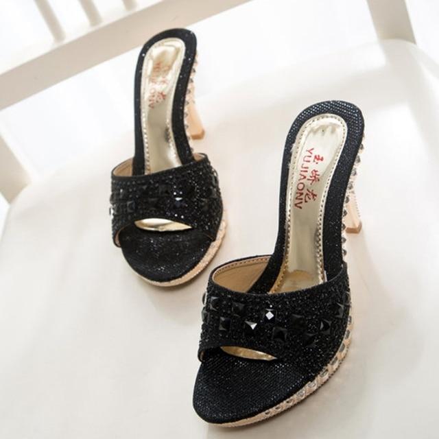Горячая Продажа!!! сексуальная Обувь Женщина Лето Мода Горный Хрусталь Высокий Каблук Сандалии Женщин Тапочки Sandalias Женская Обувь Размер 35-39