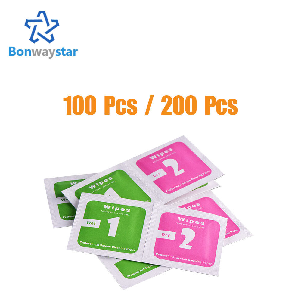 100 PCS / 200 PCS for Camera Lens Optical LCD Screen Cleaner for iPhone mobile phone Wet Dry Cleaning Wipes wholesale price