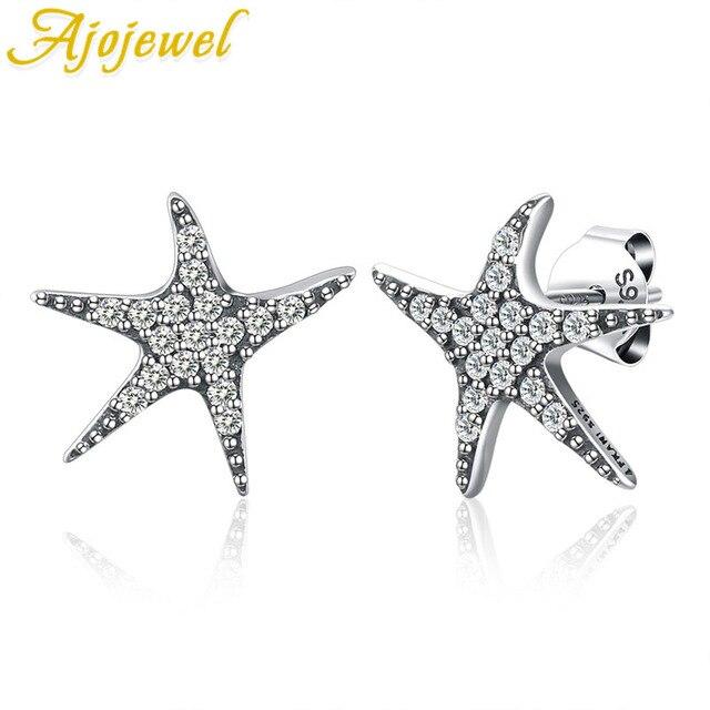 Ajojewel Full Of Cubic Zirconia 100 925 Sterling Silver Fashion Starfish Earring Studs Elegant Women