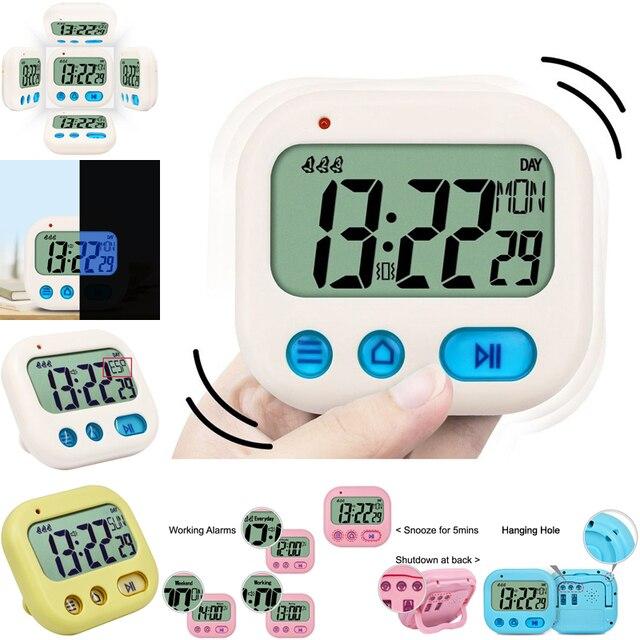 TXL Vibration kids Alarm Clock Digital Full Vision LCD Kitchen Timer Countdown Travel Snooze multi-functional mini Clock