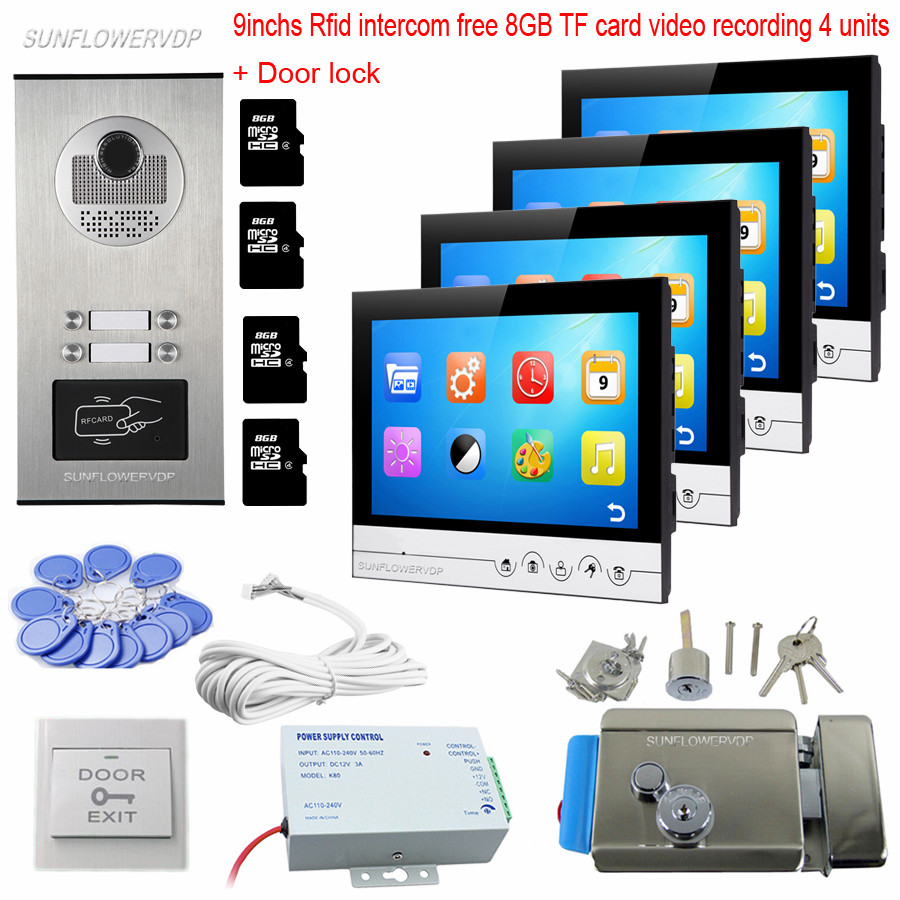 8GB TF Card Recording 4 Units Video Door Phone 9 Inches Color Monitors Rfid Keyfob Intercom With A Camera Door Bell With Lock