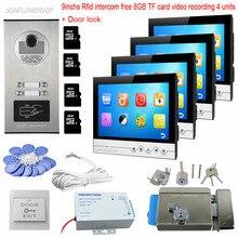8GB TF Card Recording 4 Units Video Door Phone 9 Inches Color Monitors Rfid Keyfob Intercom With A Camera Door Bell With Lock